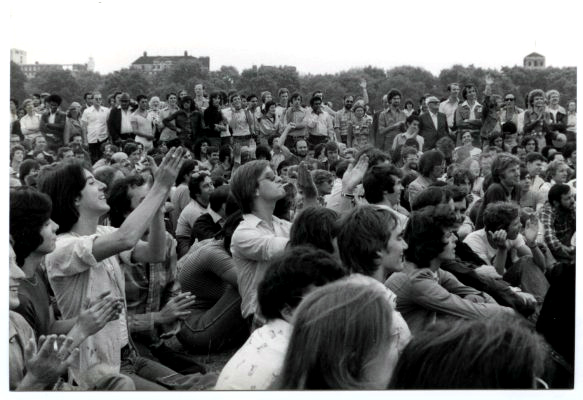 A crowd of people at the first Gay Pride march in Hyde Park, 1972. Wikimedia Commons