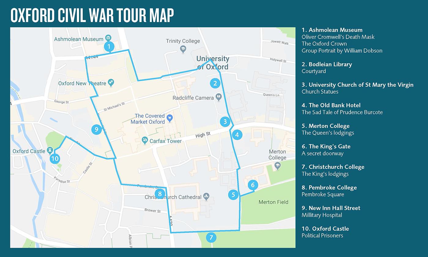 Oxford Civil War Tour Map