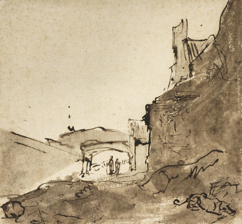 2020 Young Rembrandt Exhibition – Rembrandt, Outskirts of a town with walls and a doorway, c. 1627–9 © Fitzwilliam Museum, University of Cambridge