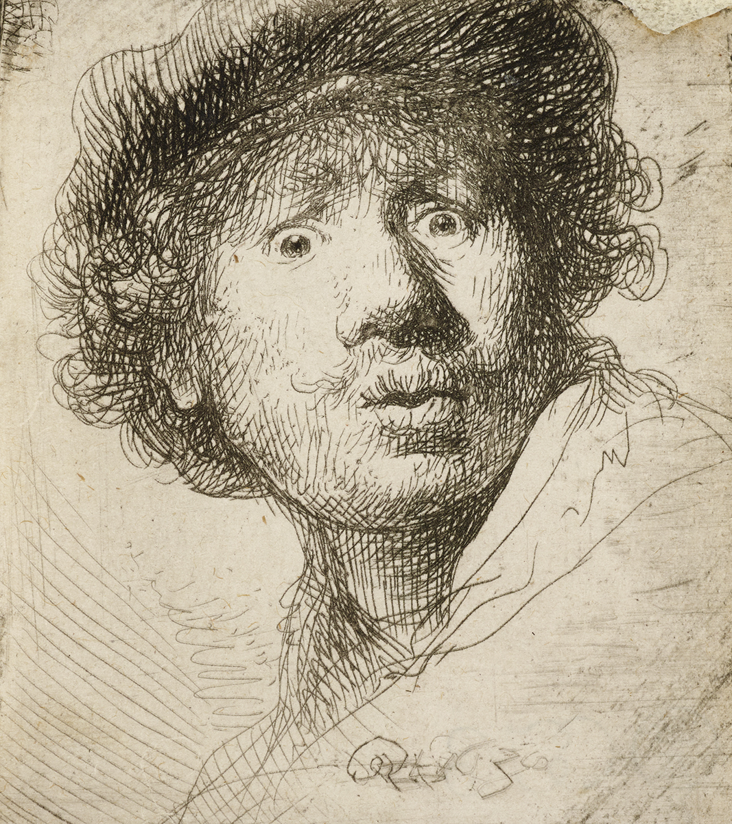 An etching of the artist Rembrandt pouting his lips with wide eyes and a furrowed brow, his expression shows surprise or fear.