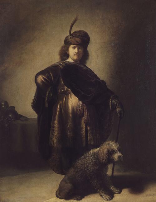 2020 Young Rembrandt Exhibition – Rembrandt, Self-Portrait in Costume with a Poodle, 1631 © Musée du Petit Palais, Paris