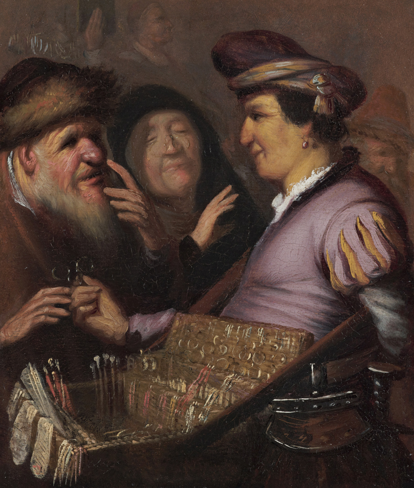 2020 Young Rembrandt Exhibition – Rembrandt, The Spectacles Seller (Allegory of Sight), c. 1624 © Museum de Lakenhal, Leiden