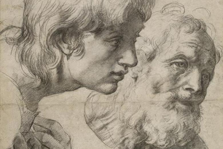 Studies of two apostles by Raphael