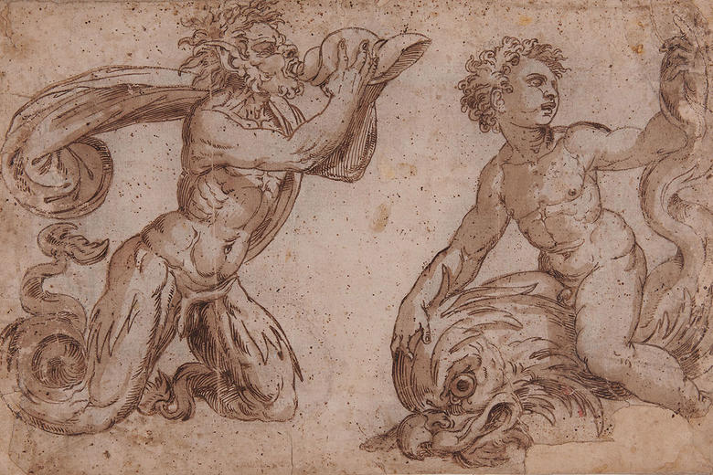 Anonymous Italian, Tuscan-Roman, Two marine deities, pen and brown ink with brown wash over black chalk
