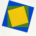 Colourful print of yellow, green and blue rectangles