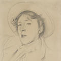 A graphite drawing of Vernon Lee by John Singer Sargent