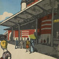 A brightly-coloured woodblock print of figures walking outside a train station in Tokyo