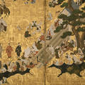 A close up detail of an ink on gold-leaf painting of a dog-chasing game