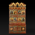 A grand Victorian bookcase with colourfully decorated panels
