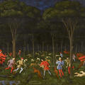 Painting of men, dogs and horses hunting beneath trees and a dark starry sky