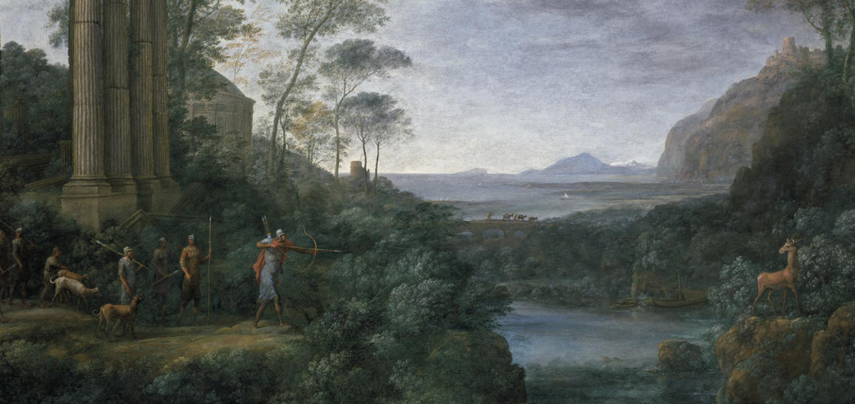 Landscape with Ascanius Shooting the Stag of Sylvia by Claude Lorrain (c.1604/5-1682) - The Baroque Art Gallery at the Ashmolean Museum