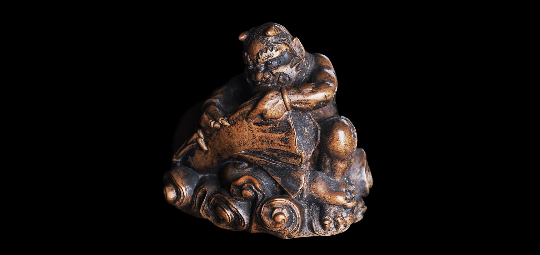 fujin the wind god releasing winds from his sack wood 1840 1877 ashmolean museum