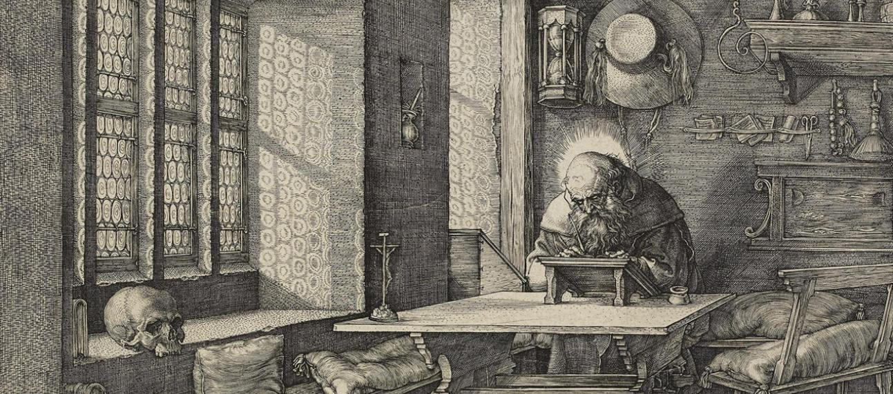 St Jerome in his Study (detail) by Albrecht Dürer