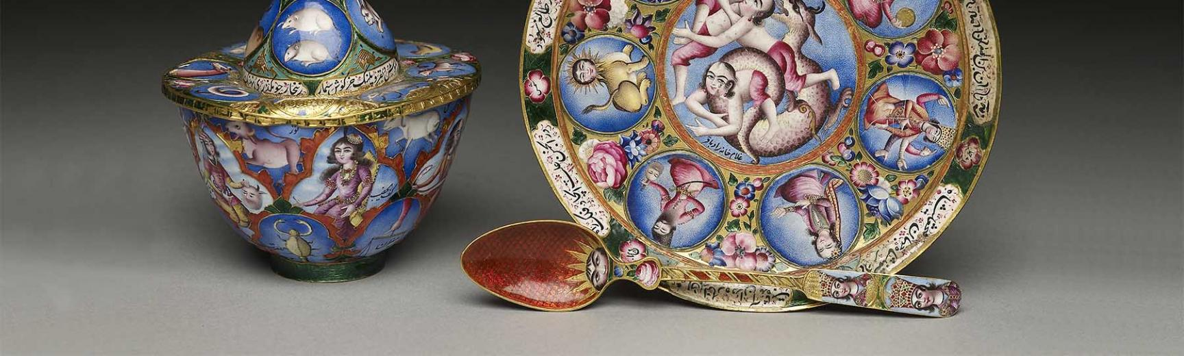 Enamel work coffee set from Iran
