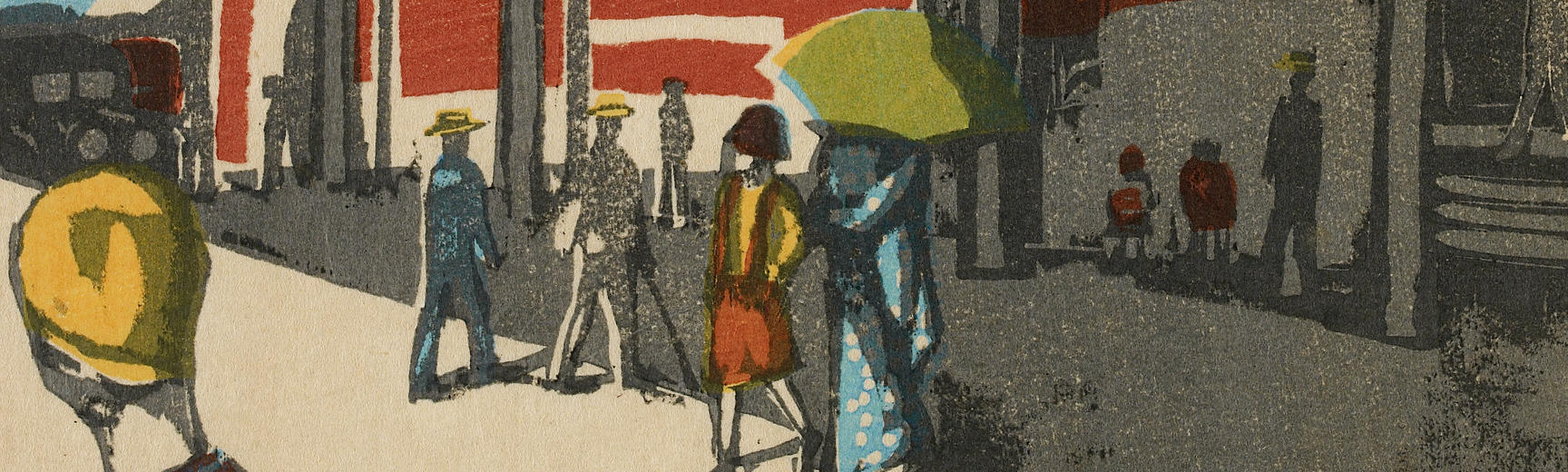 Detail from Onchi Koshiro – Tokyo Station, Scenes of Last Tokyo, 1945