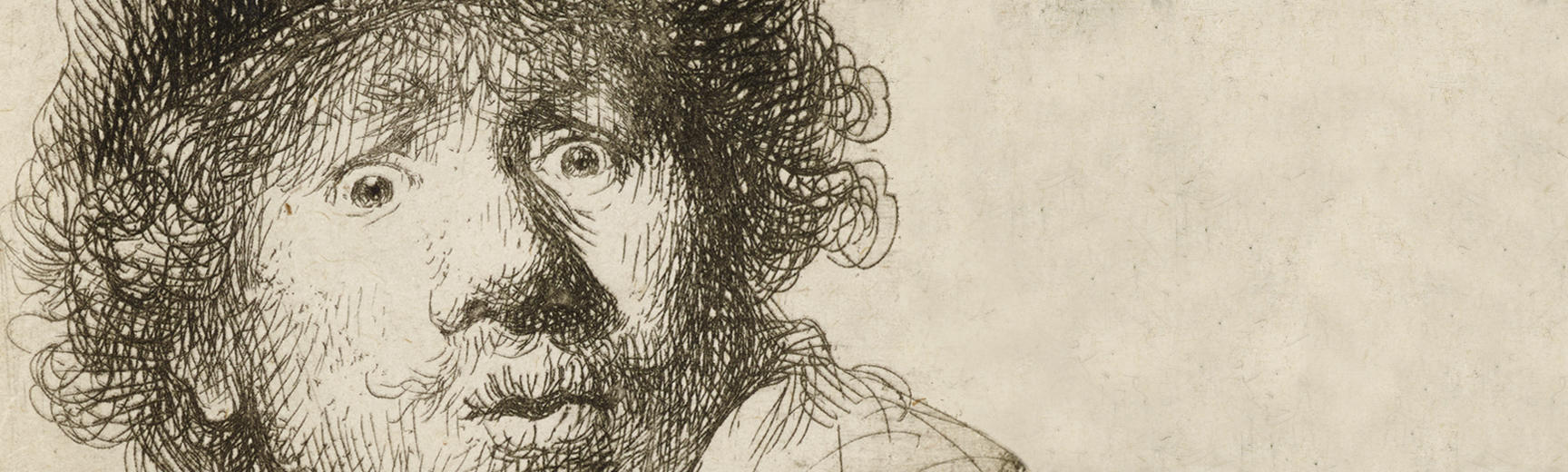 Detail from an etching of a self portrait of a young Rembrandt, made 1630