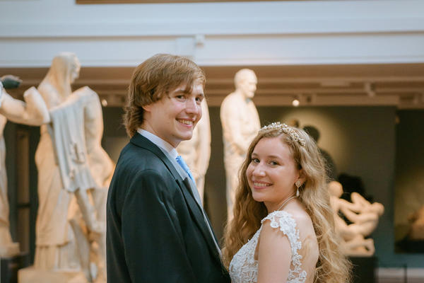 Portrait photo of bride and groom in the cast gallery