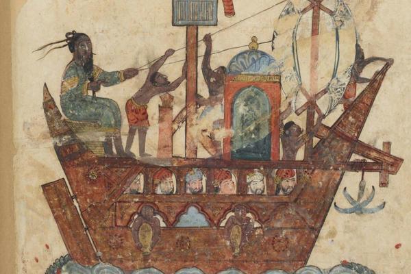 An Eastern Muslim (Indian) ship plying the Persian Gulf and Indian Ocean, Ms Ar 5847 f.119v, Abu Zayd and Al-Harith sailing from Basra to Oman, miniature from Maqamat of al-Hariri (The Meetings), c.1240 by Yahya ibn Mahmud Al Wasiti,  Gouache on Paper