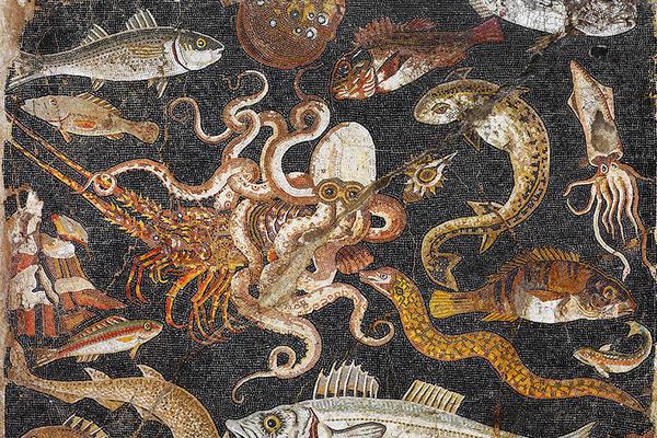 Mosaic showing a marine scene,  Museo Archeologico Nazionale di Napoli. Pompeii, 100–1 BC.