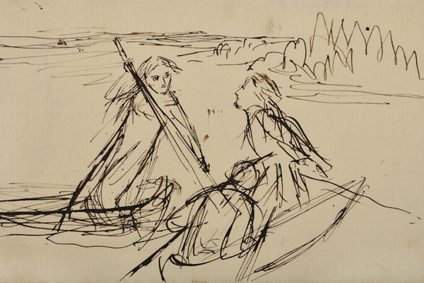 Elizabeth Siddal, Two men in a boat and a woman punting