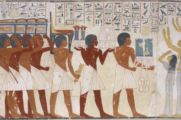 Copy of wall painting from private tomb of Ramosi, Thebes, showing funerary procession, by Nina Davies (1881 - 1965)