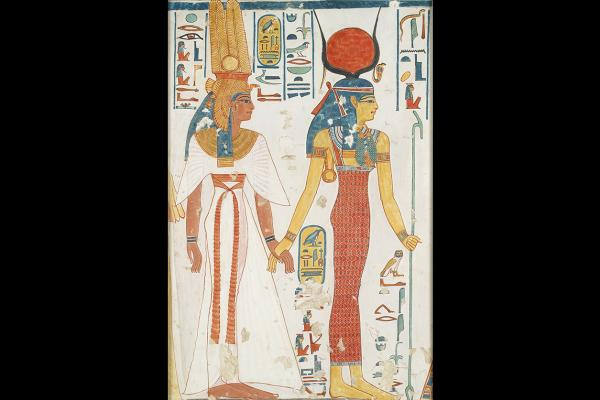 Copy of a wall painting from the Queen Nefertari's tomb by Nina de Garis Davies