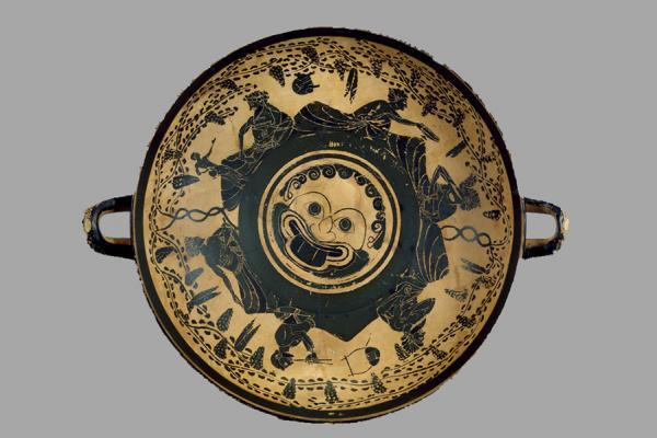 an 1974 344 athenian pot with gorgon head