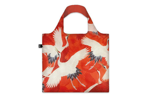 red tote bag with white-feathered birds, cranes with splayed wings