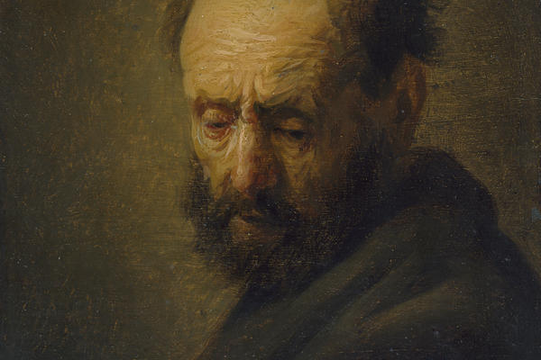 Painting of a head of a bearded man