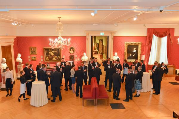 Corporate drinks in the Mallet Gallery (European Art) at the Ashmolean