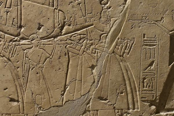 Limestone stela depicting Ramesses II offering incense to Isis (detail), Egypt, 1279-1213 BC