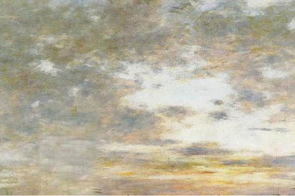 Painting of broken clouds in the sky with hues of yellows and greys, and greens