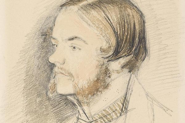 Portrait drawing of John Everett Millais in profile, looking left