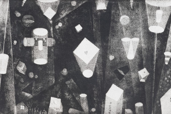 A black and white etching of various wandering 3D shapes drifting in space