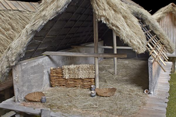 na 73 09 neolithic lake village model basketry and pots