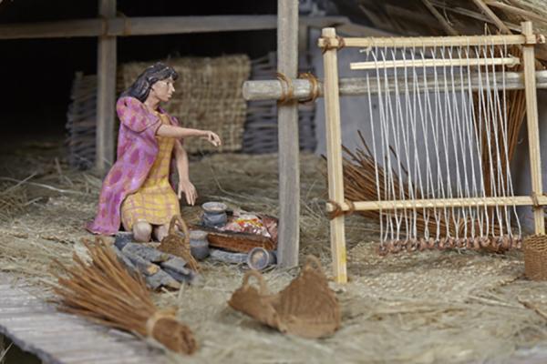 na 73 17 neolithic lake village model weaving