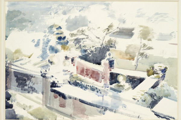 Paul Nash watercolour painting Haunted Garden Oxon Western Art