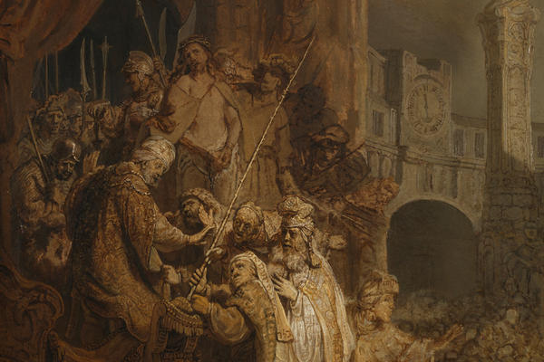 Painting with a group people in the left foreground and a clock tower in the background showing Christ before Pilate, by Rembrandt