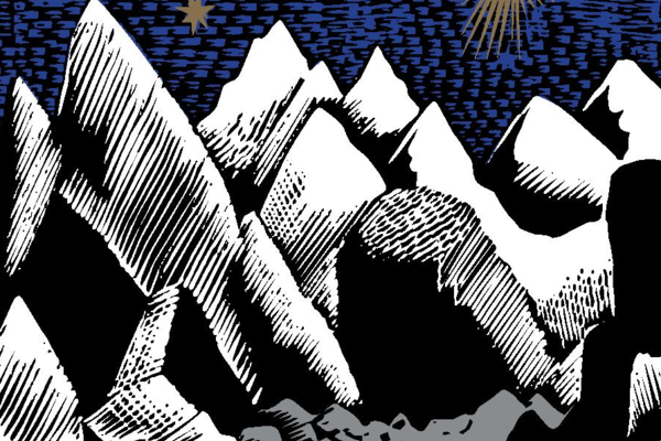 Christmas Card - Rocky Landscape with Stars