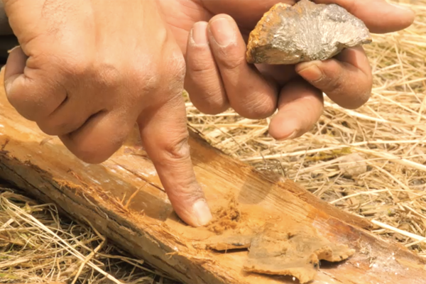 learn pre-history image  Fire starting using flint, Iron pyrites and fungus