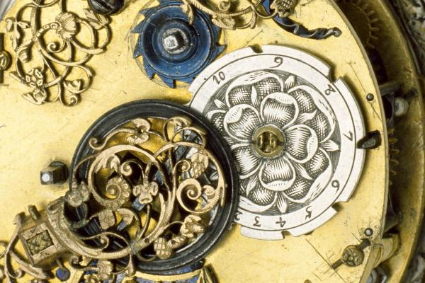 Watch with astronomical dial and sun-rise sun-set table by Abraham Gribelin, 1630 (detail)
