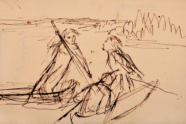 Drawing by Elizabeth Siddal of two men in a boat and a woman punting