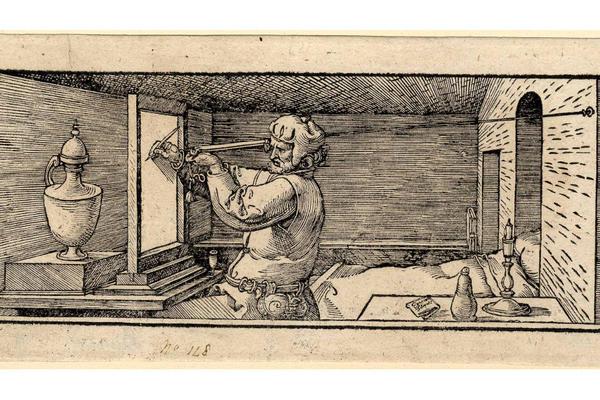 An engraving of a man drawing a vase by Albrecht Dürer.
