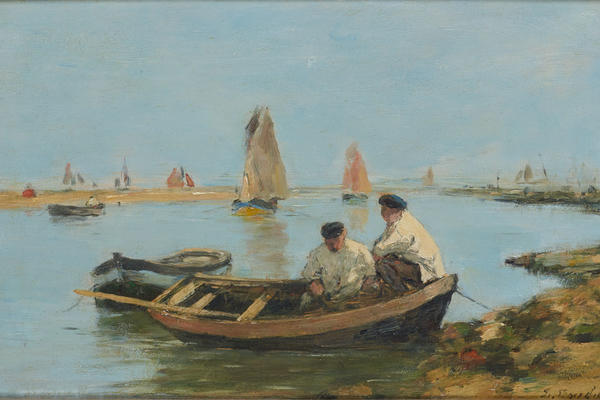 A painting of two men sat in a fishing boat at the shore