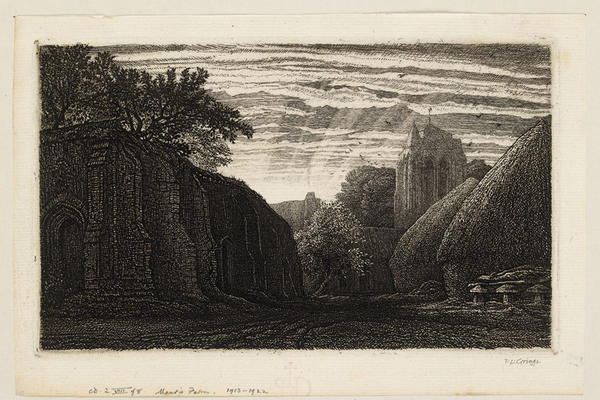 Etching of Maur's Farm, a medieval pastoral landscape set against a cloudy sky with glimmering rays of sunshine cascading behind the trees