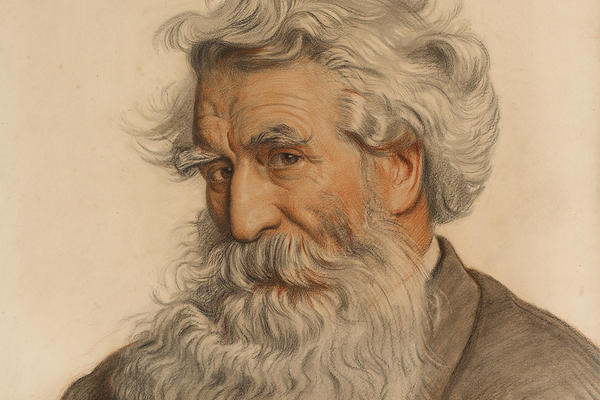 A portrait of Thomas Combe with a long, flowing white and grey beard