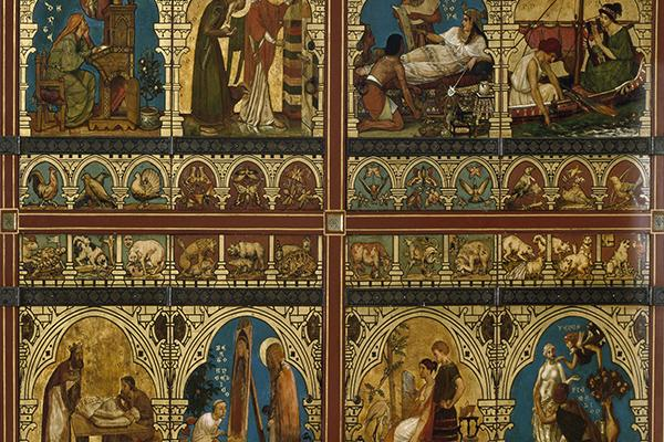 Painted bookcase doors covered with painted scenes
