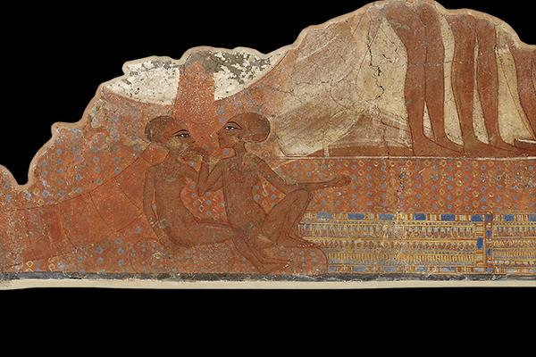 Fragment of wall painting, depicting the daughters of Akhenaten