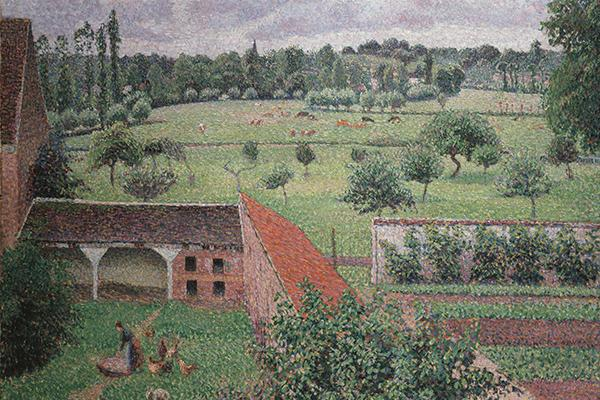 Painting of a view of a farm garden from a window.