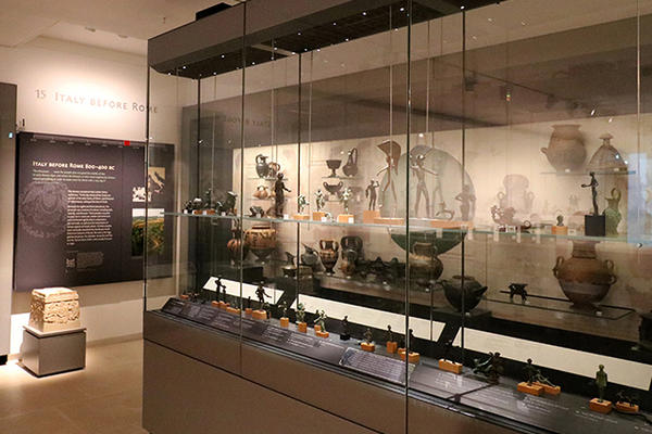 Gallery with display cases